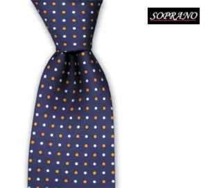 Navy Orange White Spot Tie