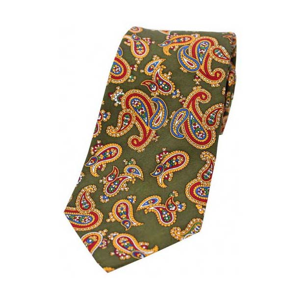 Vintage Large Paisley Print on Country Green Silk Tie