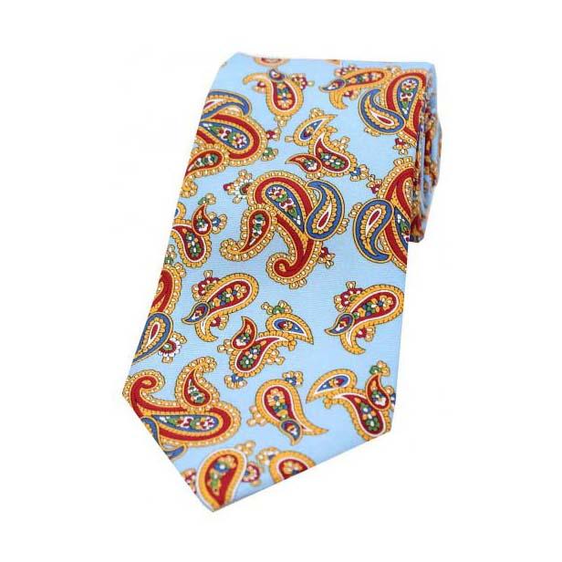 Vintage Large Paisley Print on Sky Blue Silk Tie