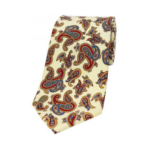 Vintage Large Paisley Print on Pastel Yellow Silk Tie