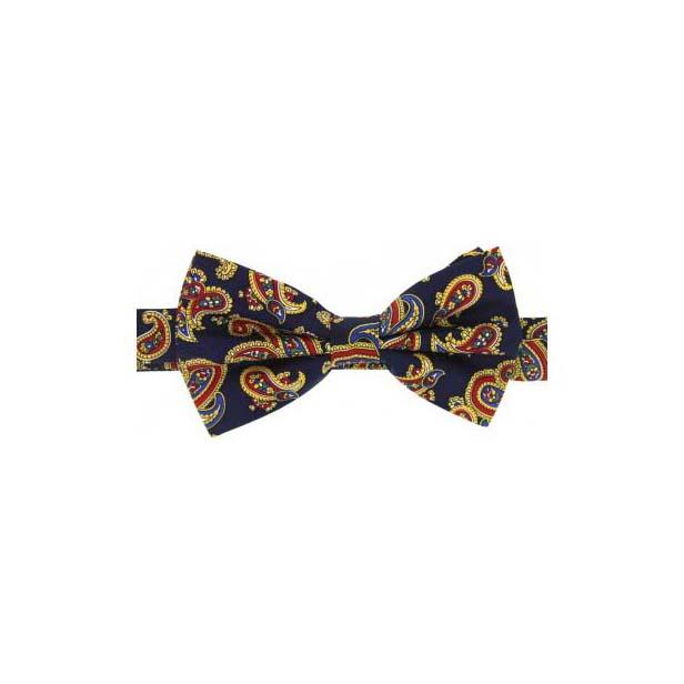 Navy Edwardian Paisley Silk Twill Pre-Tied Bow Tie