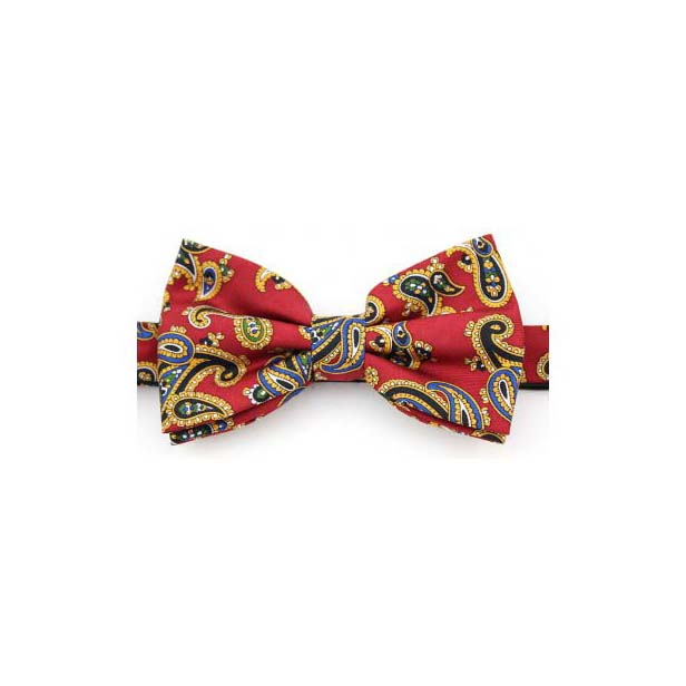 Red Edwardian Paisley Silk Twill Pre-Tied Bow Tie