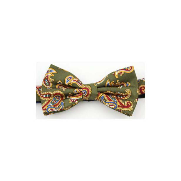 Moss Green Edwardian Paisley Silk Twill Pre-Tied Bow Tie