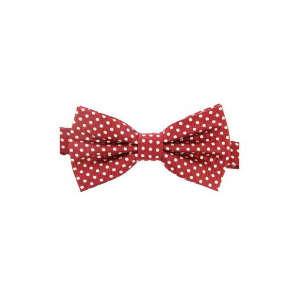 White Polka Dot on Red Woven Silk Bow Tie