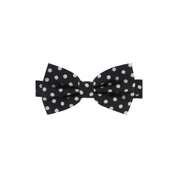 Grey Polka Dot on Black Woven Silk Bow Tie