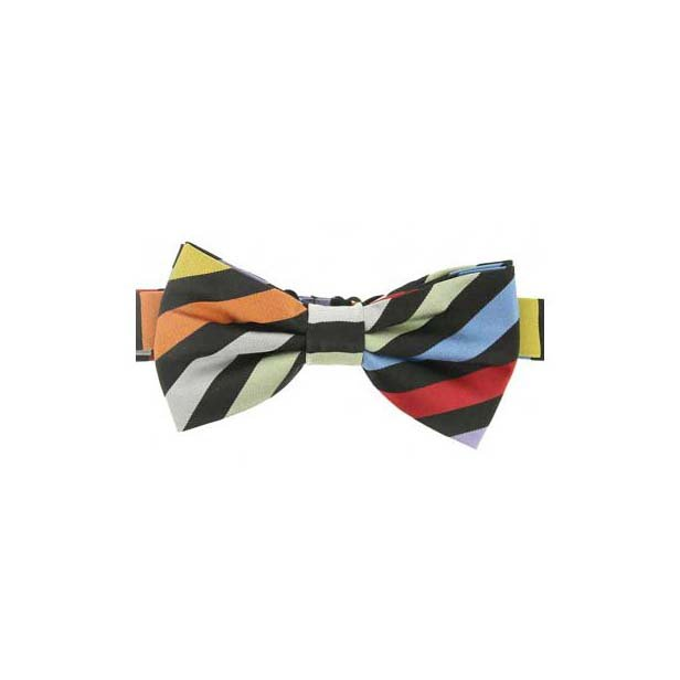 Multi Coloured Stripes on a Navy Woven Silk Bow Tie