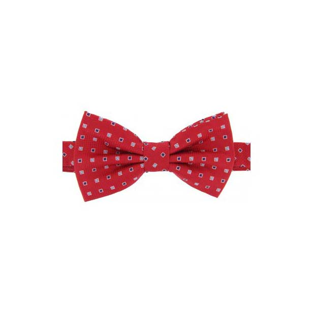 Navy and Silver Squares on Red Woven Silk Bow Tie