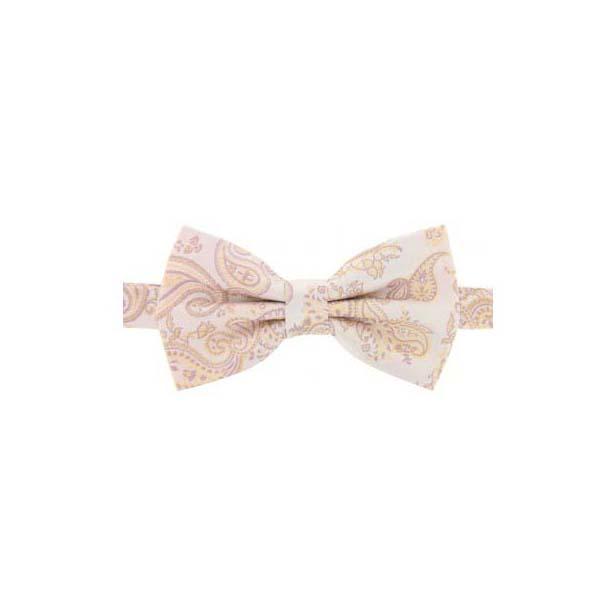 Beige Edwardian Paisley Woven Silk Bow Tie