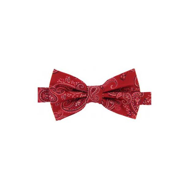 Red Edwardian Paisley Woven Silk Bow Tie