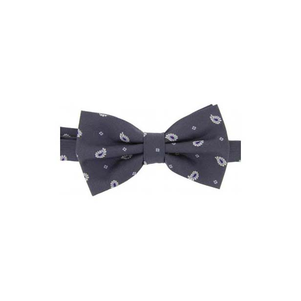 Charcoal Teardrop Feather Paisley Print Woven Silk Bow Tie