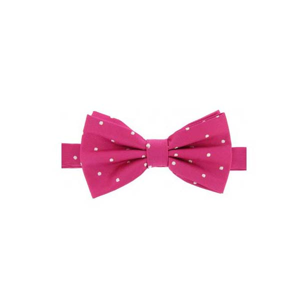 Fuchsia Pink & White Woven Silk Bow Tie
