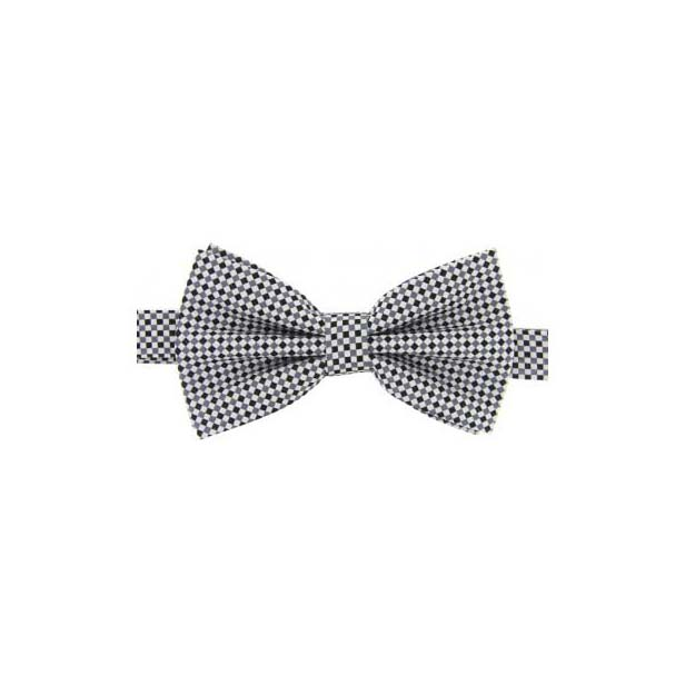 Silver and Black Checked Woven Silk Bow Tie