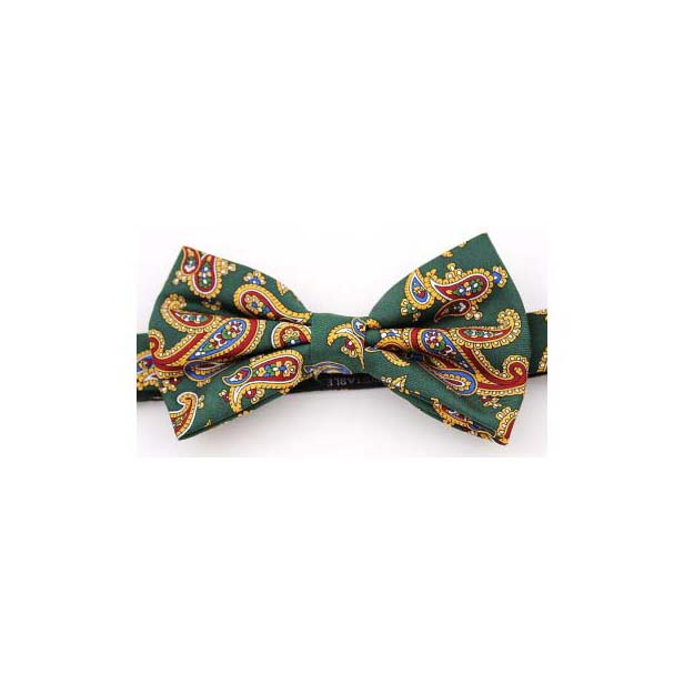 Forest Green Edwardian Paisley Luxury Silk Bow Tie