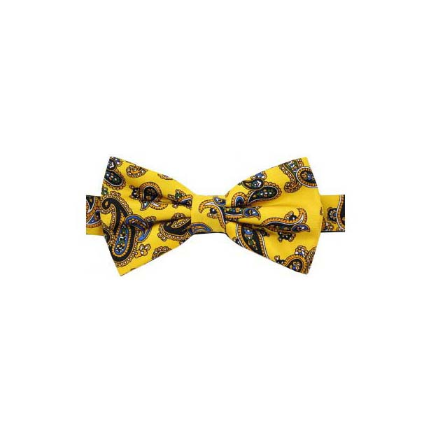 Gold Edwardian Paisley Luxury Silk Bow Tie