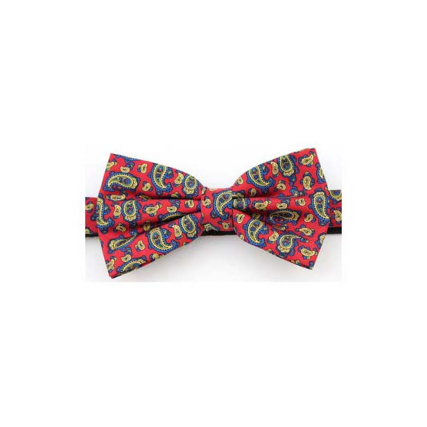Red Edwardian Paisley Luxury Silk Bow Tie