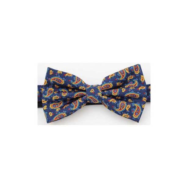 Navy Edwardian Paisley Luxury Silk Bow Tie
