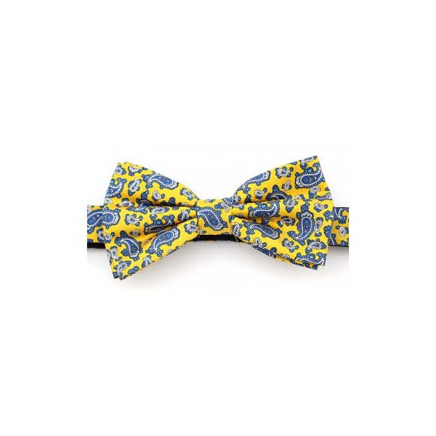 Yellow Edwardian Paisley Luxury Silk Bow Tie