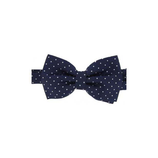 White Pin Dot on a Navy Woven Silk Bow Tie