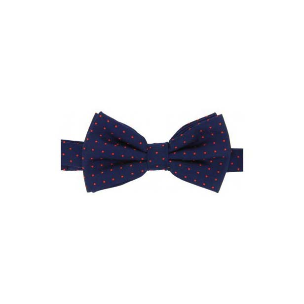Red Pin Dot on a Navy Woven Silk Bow Tie