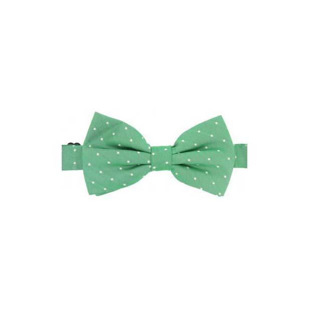 Cream Pin Dot on Green Woven Silk Bow Tie