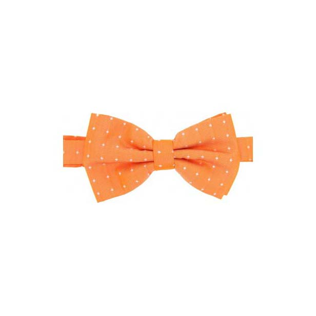 Cream Pin Dot on Orange Woven Silk Bow Tie