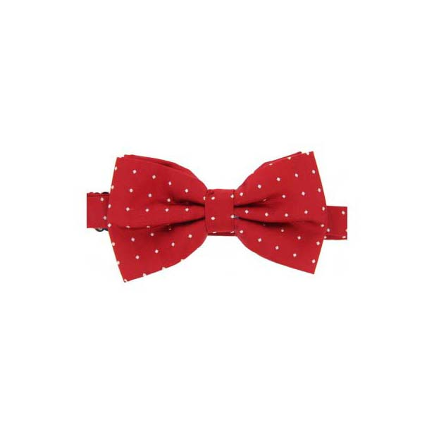 White Pin Dot on Red Woven Silk Bow Tie