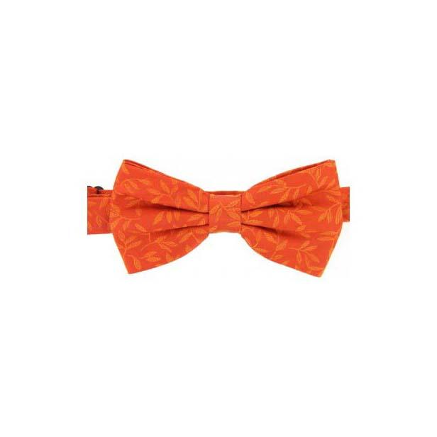 Orange Tone on Tone Leaves Woven Silk Bow Tie