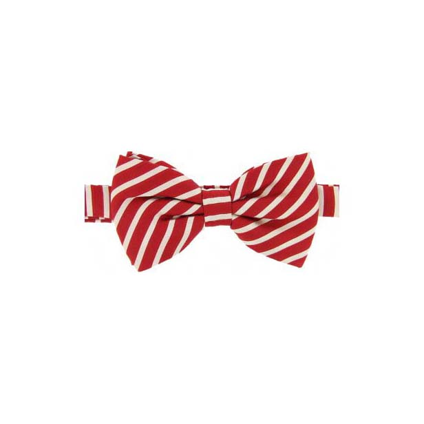 Red and Ivory Striped Woven Silk Bow Tie
