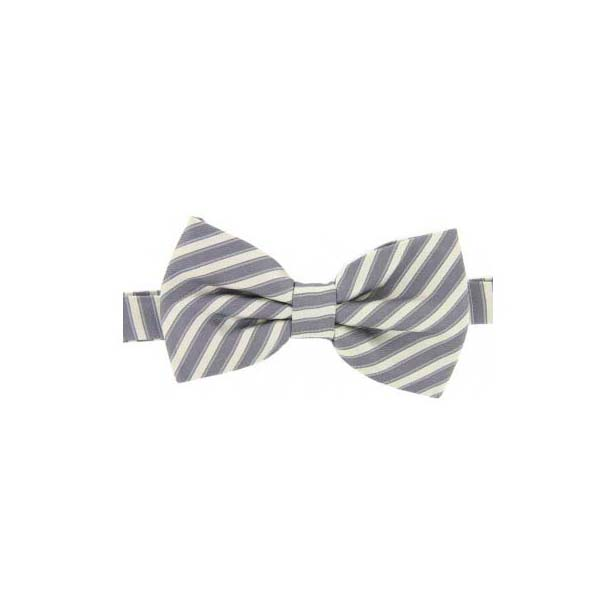 Silver and Ivory Striped Woven Silk Bow Tie