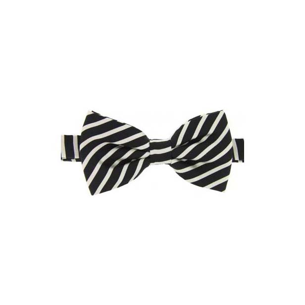 Navy and Ivory Striped Woven Silk Bow Tie