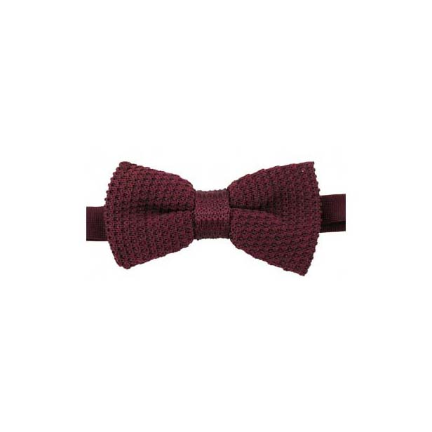 Plain Wine Knitted Polyester Pre-Tied Bow Tie