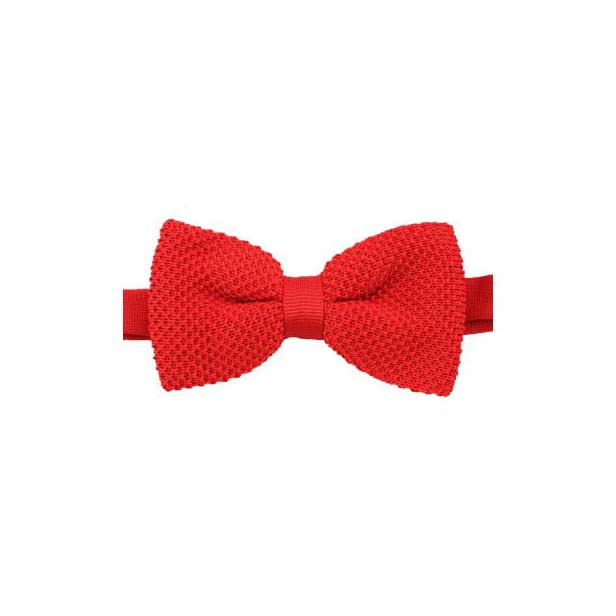 Plain Red Knitted Polyester Pre-Tied Bow Tie