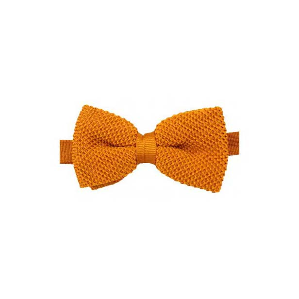 Plain Burnt Knitted Polyester Pre-Tied Bow Tie