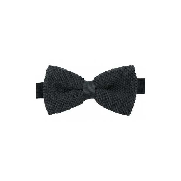 Plain Black Knitted Polyester Pre-Tied Bow Tie