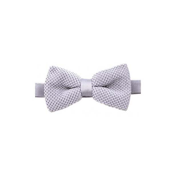 Plain Grey Knitted Polyester Pre-Tied Bow Tie