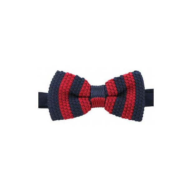 Navy and Red Striped Knitted Polyester Pre-Tied Bow Tie