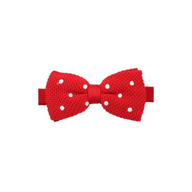 Red and White Polka Dot Knitted Polyester Pre-Tied Bow Tie