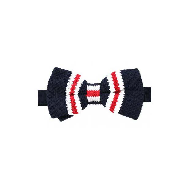 Navy, White and Red Striped Knitted Polyester Pre-Tied Bow Tie