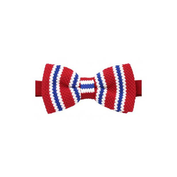Red, Blue and White Striped Knitted Polyester Pre-Tied Bow Tie