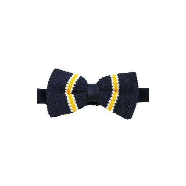 Navy, Yellow and White Striped Knitted Polyester Pre-Tied Bow Tie