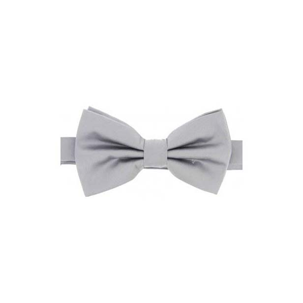 Silver Satin Silk Luxury Bow Tie