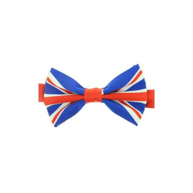 Union Jack Print Silk Pre-tied Bow Tie
