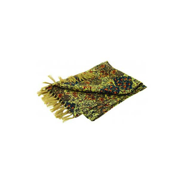 Edwardian Orchard Print On Golden Silk Aviator Scarf