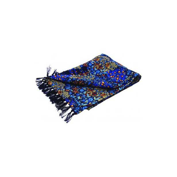 Blue Edwardian-Inspired Orchard Print Silk Aviator Scarf