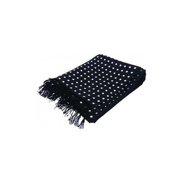 White Polka Dots On Black Ground Silk Aviator Scarf