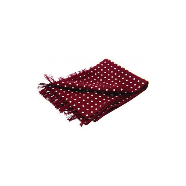 White Polka Dot On A Wine Silk Aviator Scarf