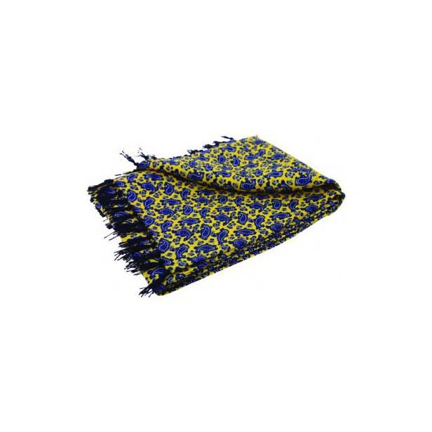 Blue Paisley Print On Yellow Silk Aviator Scarf