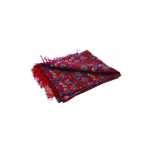 Red Edwardian-Inspired Flower Print Silk Aviator Scarf