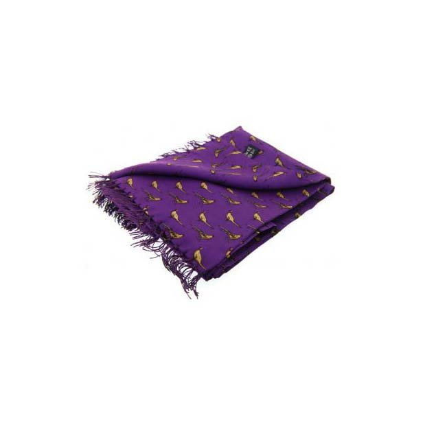 Standing Pheasants On Purple Silk Aviator Scarf