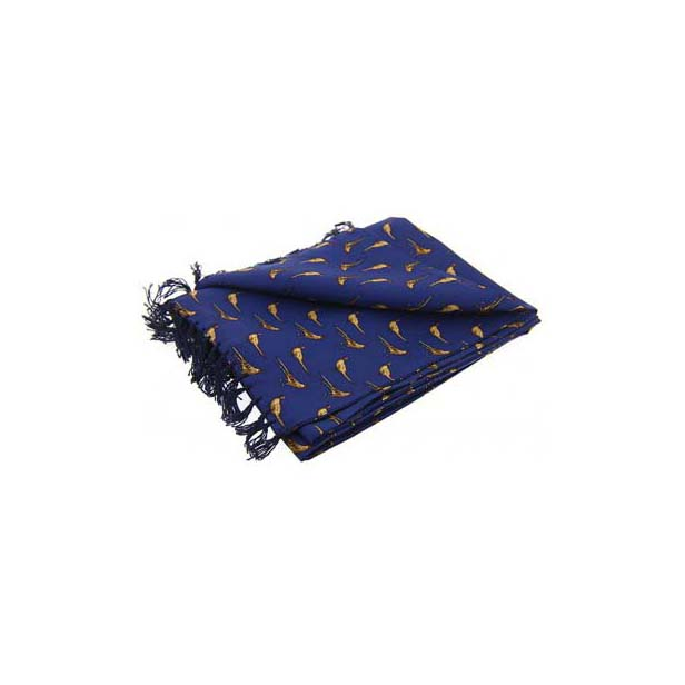 Standing Pheasants On Navy Blue Silk Aviator Scarf